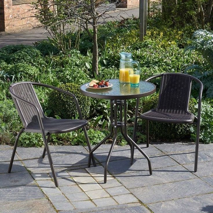 Metal Distro Set Garden Patio Table 2 Chairs Rattan Outdoor Furniture Diner Home