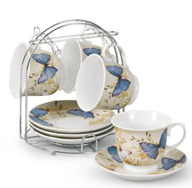 Set of 4 Blue Butterfly Bulk Wholesale Tea Cups and Saucers with Stand