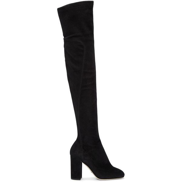 Dolce and Gabbana Black Suede Tall Boots ($2,055) ❤ liked on Polyvore featuring shoes, boots, black, stretch suede boots, suede boots, black boots, suede knee-high boots and block heel knee high boots