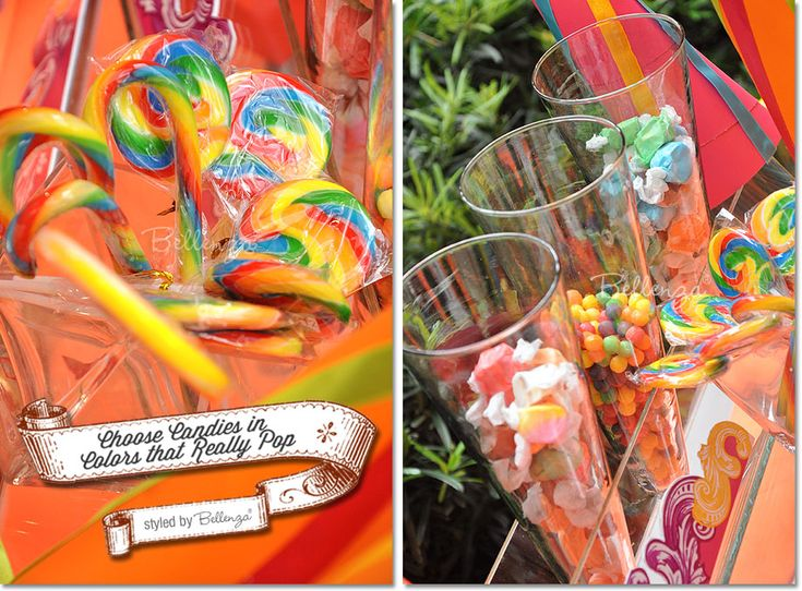 Lollipop swirls in rainbow colors and taffy candies - could be for a fun circus-themed bridal shower! (visit the full post at the Bellenza Party Suite) #colorfulcandies #candytable #partysweets