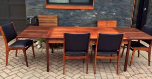 REFINISHED Danish MCM Rosewood Table & 4 Chairs REUPHOLSTERED