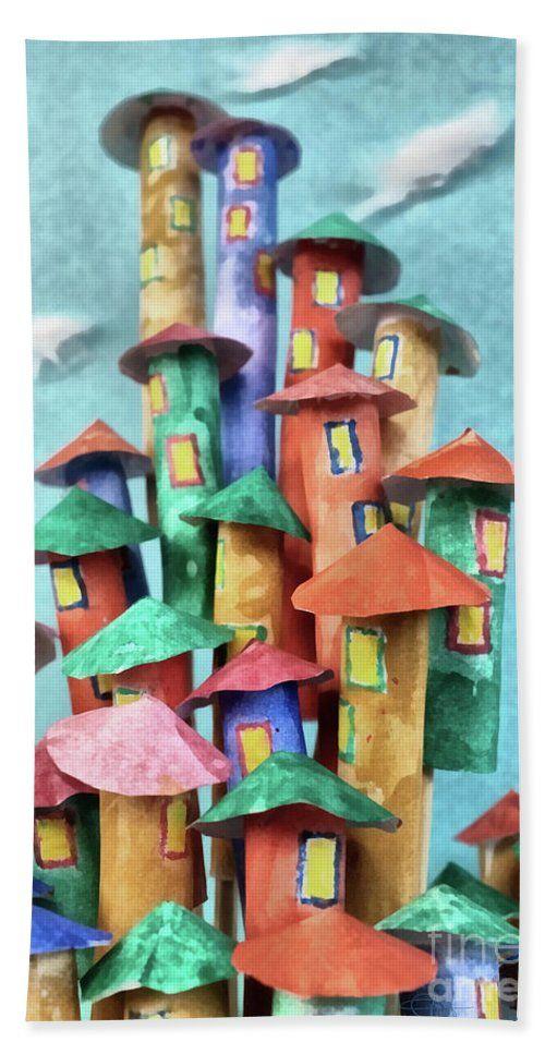 Fairy Beach Towel featuring the painting Fairy City by Grigorios Moraitis