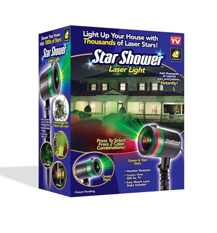 Create a spectacular outdoor display with the Star Shower Laser Light by As Seen On TV. An effortless way to decorate your home during Christmas festivities, these weather-resistant lights cover over 600 square feet and feature 2 color combinations for added convenience. Just plug it in and aim thousands of colorful stars everywhere.