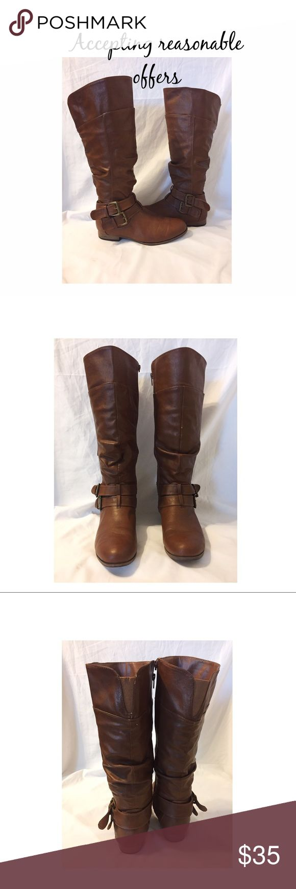 ✨SALE!!✨ Charlotte Russe Boots Brown Charlotte Russe boots in great condition. The top of the handle of the zipper on the right boot is broken off but still works and zips perfectly! :) charlotte russe Shoes Over the Knee Boots