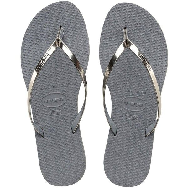 Havaianas You Metallic Flip Flop Sandal ($36) ❤ liked on Polyvore featuring shoes, sandals, flip flops, havaianas sandals, havaianas shoes, metallic sandals, metallic shoes and havaianas flip flops