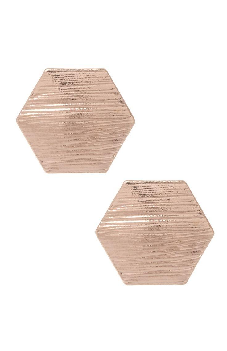 Primark - Brincos tipo tacha em hexágono bronze