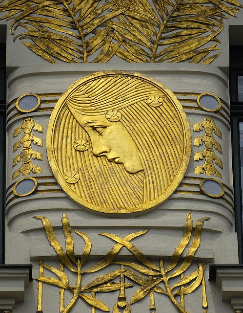 Art #Nouveau -detail from facade of Koloman Moser's gold medallions, Wagner apartments in Vienna