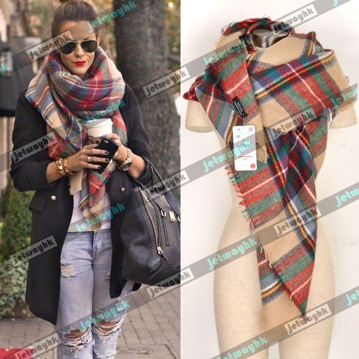 NWT Authentic ZARA Blanket Oversized Tartan Scarf Wrap Plaid Cozy Checked | eBay