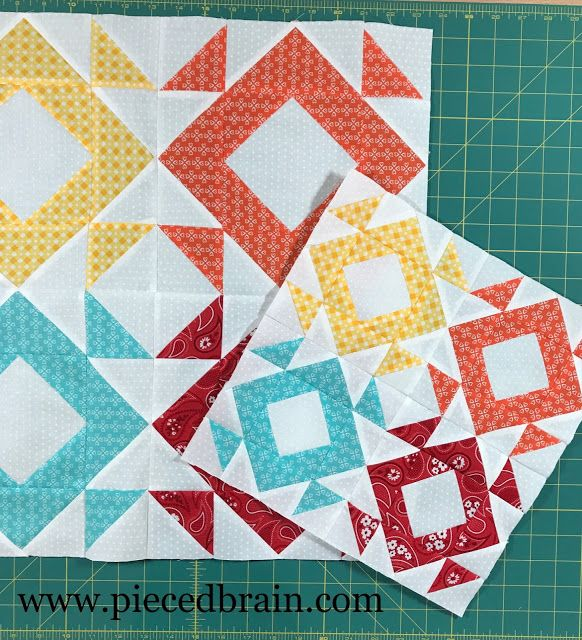 Block 2 for the Clementine Quilt Along hosted by Fat Quarter Shop. Loving it!!!  Easy quilt blocks to put together using half square triangles and flying geese. Pieced Brain