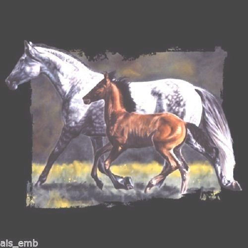 Mare & Foal Horse HEAT PRESS TRANSFER for T Shirt Sweatshirt Tote Fabric  #241 #AB