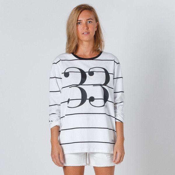Lower Relax Long Sleeve Tee Trente - White Stripe