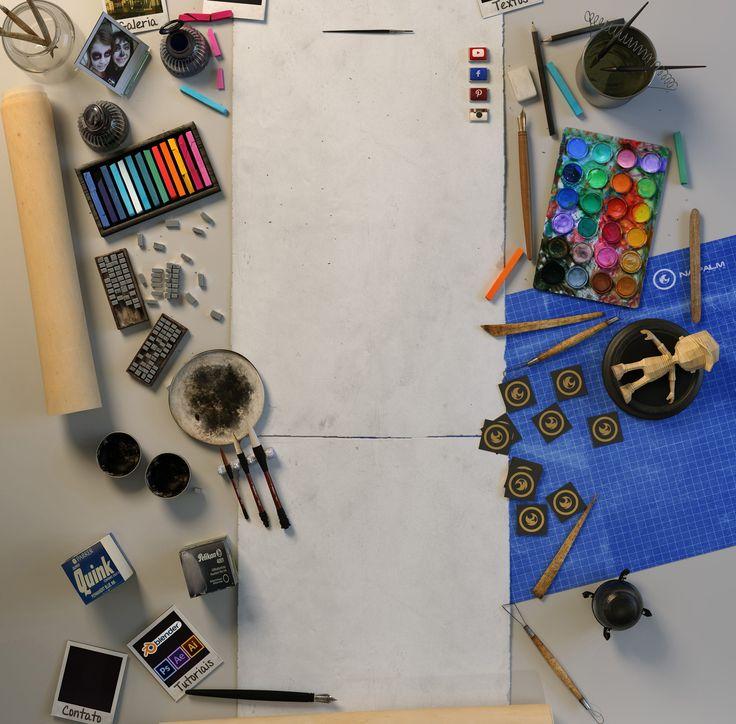 wireframe de cena 3D de render para imagem de background de website http://www.thiagobulhoes.com/galeria.html