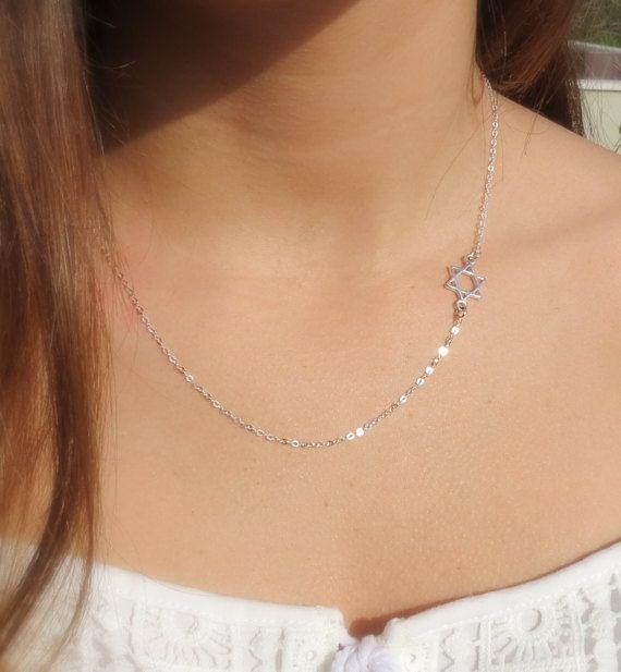 Gold Sideways Jewish Star of David Necklace, #jewelry #necklace @EtsyMktgTool http://etsy.me/2wGkQu9 #delicatenecklace #judaicajewelry