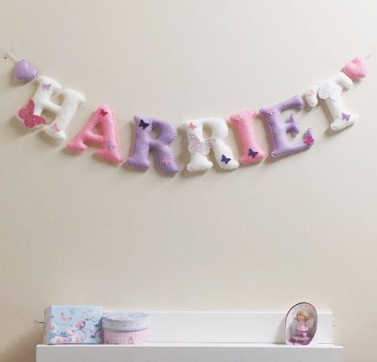 Personalised Butterfly Name Bunting  pink and purple girls name garland perfect for nursery wall including hearts and butterflys