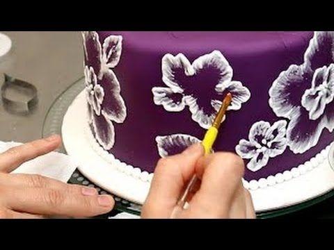 Королевская глазурь рецепт для торта вышивка кистью, как по - YouTube