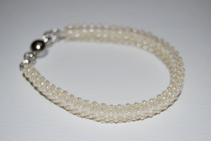 Delicate Beaded Bracelet made with TOHO beads - handmade using the Cubic Right Angle Weave (C-RAW) technique by BeaduBeadu on Etsy