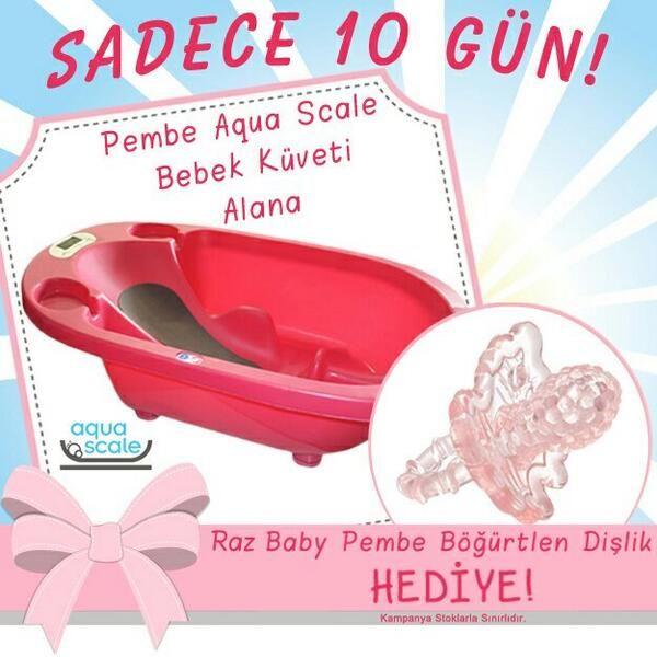 10 Gün Boyunca Pembe Aqua Scale Akıllı Bebek Küveti Alana Raz Baby Pembe Böğürtlen Dişlik HEDİYE!   #bebekform http://www.bebekform.com/index.php
