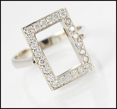 Solid 9ct White Gold Ring Encrusted with 28 Simulated Diamonds. Elegant white gold ring, designed in Italy, with 28 stunning clear Simulated Diamonds>