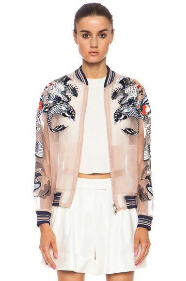 white cropped separates with nude embroidered organza baseball jacket (3.1 phillip lim)