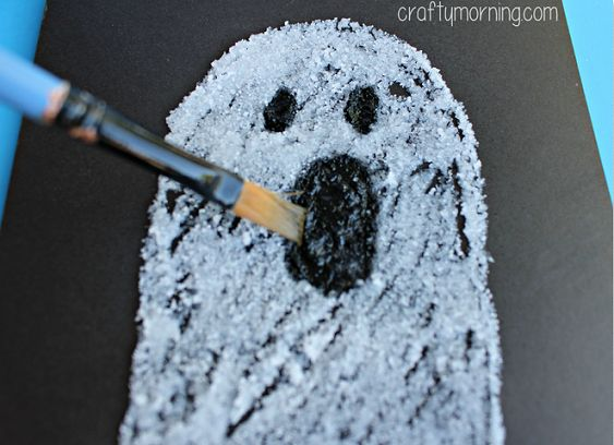 salt ghost halloween craft