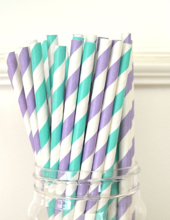 25 Whimsical Mermaid Paper Straws Pack, AQUA & PURPLE, Party favors, Drinking Straws, Cake Pops on Etsy, $4.00