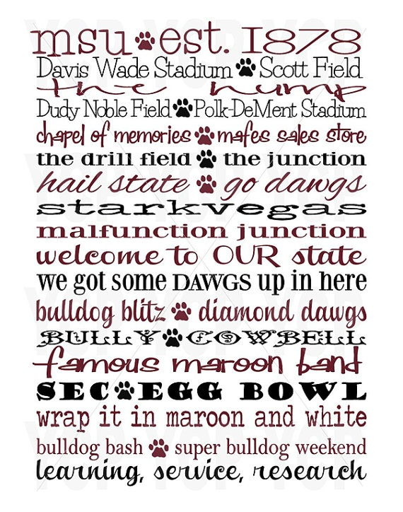 Mississippi State University MSU Subway Word Art by whatsyour20, $25.00