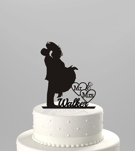 Wedding Cake Topper Silhouette Couple Mr & Mrs Personalized with Last Name, Acrylic Cake Topper [CT4t]