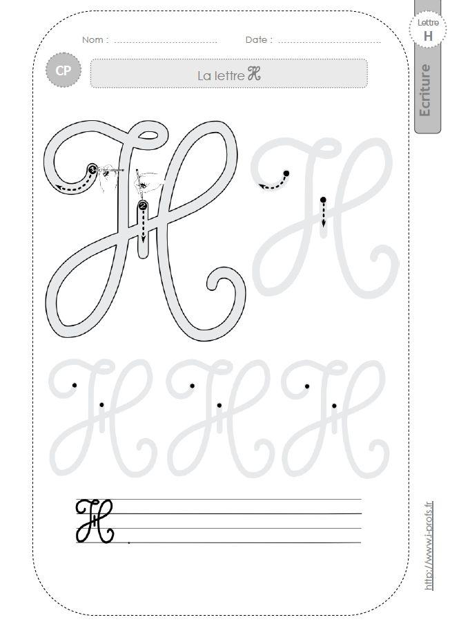 la lettre H majuscule au CP:FICHES d'ECRITURE. Modèles d'écriture