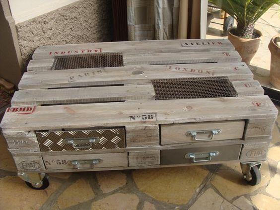 Table basse palette industrielle avec tiroirs  http://www.homelisty.com/table-basse-palette/