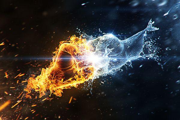 Fire vs. Water by Sergey Pereskokov, via Behance