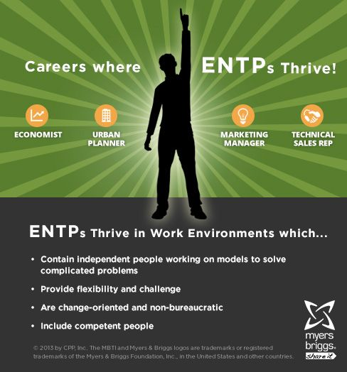 The careers and workplaces where ENTPs thrive! #MBTI #myersbriggs #careers