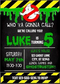 Ghostbusters Themed Birthday Party Invitation by CarolinaInvites
