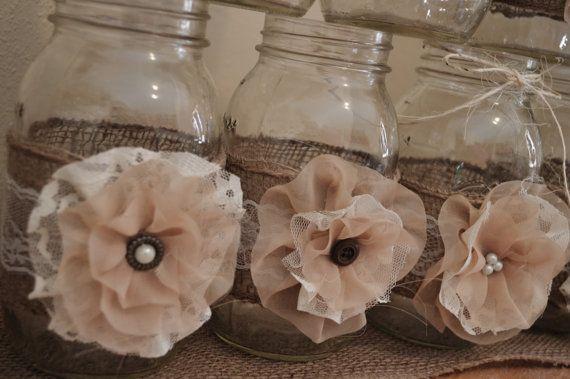 Set of 10 Rustic Mason Jar Sleeves Wedding by RusticWithElegance