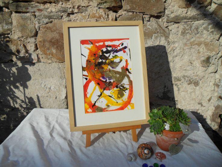 Deko-Objekte - Bild, gold, orange, Bilderrahmen, Frühlingsbild - ein Designerstück von Atelier-Melanie-Landgraf bei DaWanda