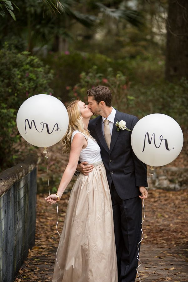 Kate Spade Inspired Wedding - mr and mrs balloons | Allison Bolsega Photography on @knotsvilla via @aislesociety