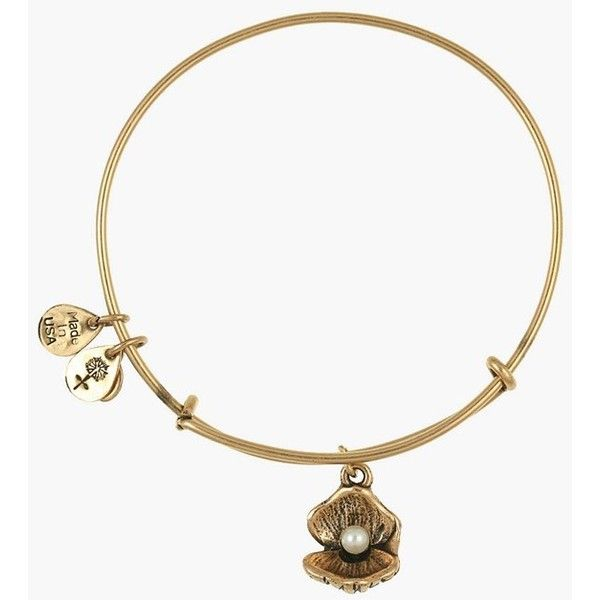 Alex and Ani 'Oyster' Charm Expandable Bangle ($38) ❤ liked on Polyvore featuring jewelry, bracelets, russian gold, charm bracelet bangle, hinged bangle bracelet, bracelets & bangles, alex and ani bracelet and charm bangle