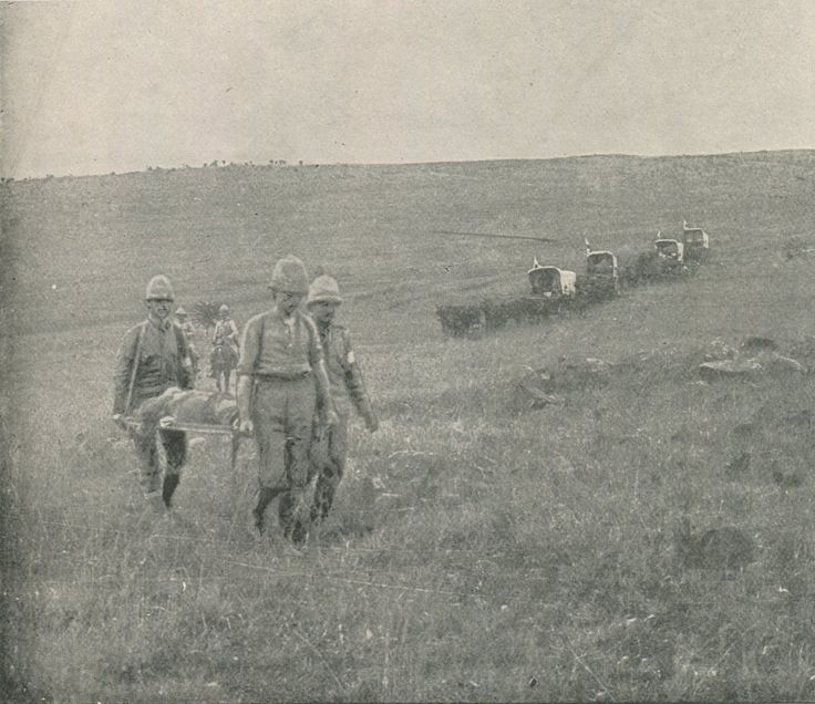 Bringing in British casualties after the Battle of Spion Kop