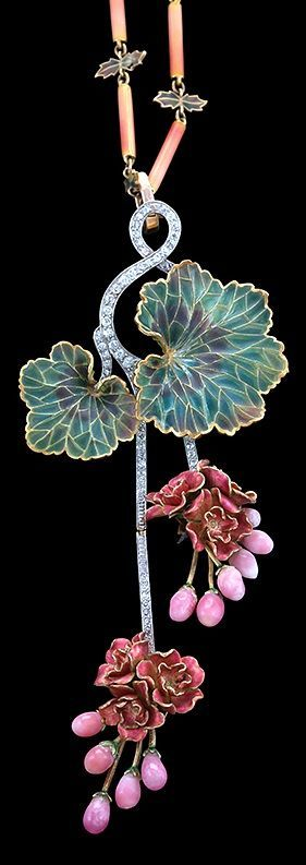 An Art Nouveau 18 karat gold, diamond, conch pearl and plique-à-jour enamel 'Morning Glory' necklace, attributed to Marcus & Co., circa 1900. The pendant set with round diamond accents culminating in plique-à-jour flower clusters with 11 conch pearls, the detachable chain composed of shaded pink tubular links and green plique-à-jour leaf-form links. #Marcus #ArtNouveau #necklace