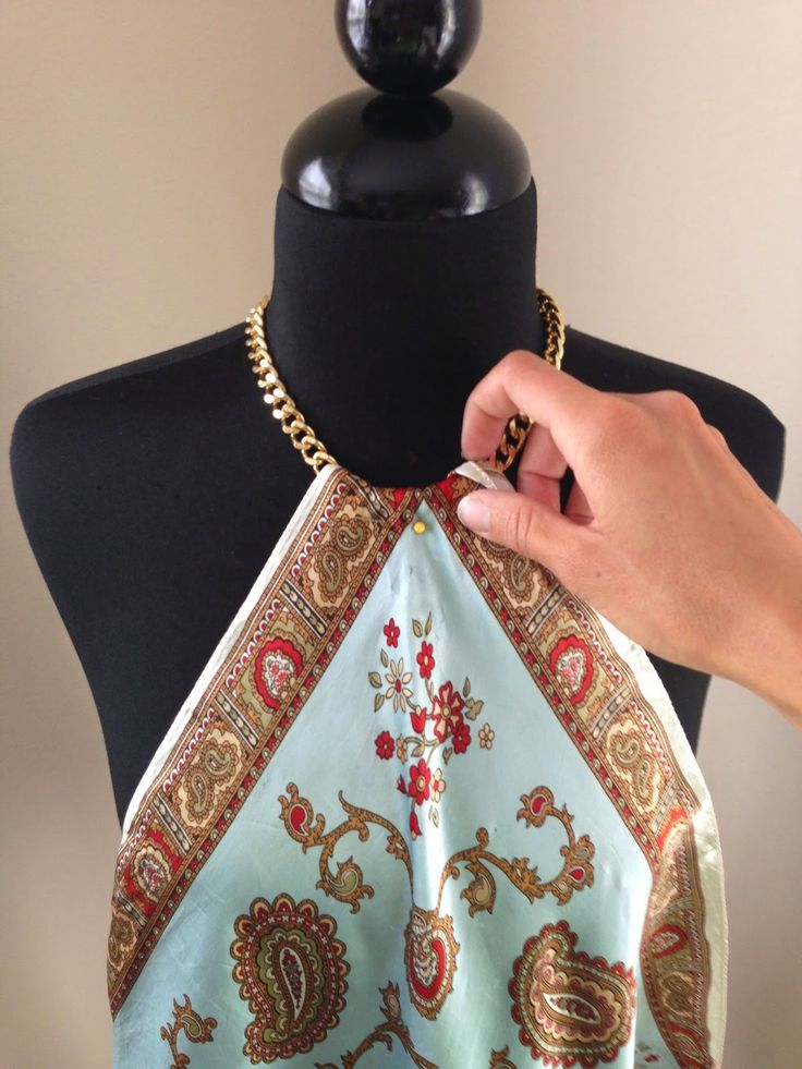 DIY Supplies:   Chain, scarf, clasp, pliers, sewing machine/needle and thread     Pin over one corner of the scarf and sew wher...
