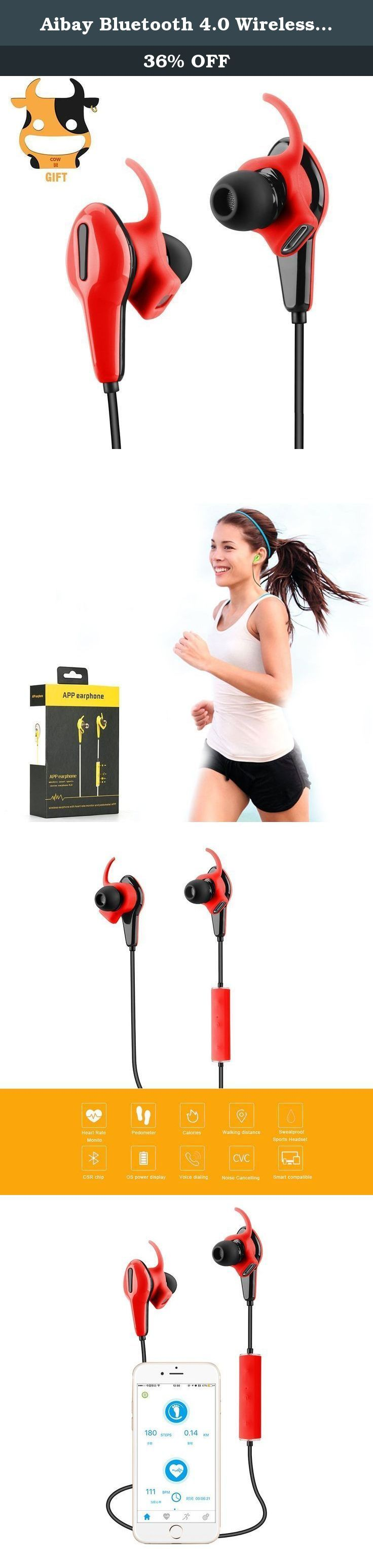 Aibay Bluetooth 4.0 Wireless Headphones with Built-In Heart Rate Monitor and Pedometer for Gym,Sporting Earbuds(Red). Specifications: Product Name: App Earphone Chip Model: Bluetooth Drive Unit: ∅8MM Speaker Impedance: 16Ω ± 0.2% Sensitivity: 92DB ± 2 Distortion: 0.30% Noise Reduction: CVC 6.0 Frequency Response: 20-20k HZ Battery Indicator: Polymer Lithium Battery 85mAh+Protection board Bluetooth Version: Ver4.0 Support Agreement: hfp, hsp, a2dp, avrcp, aptx Other functions: App, Heart…