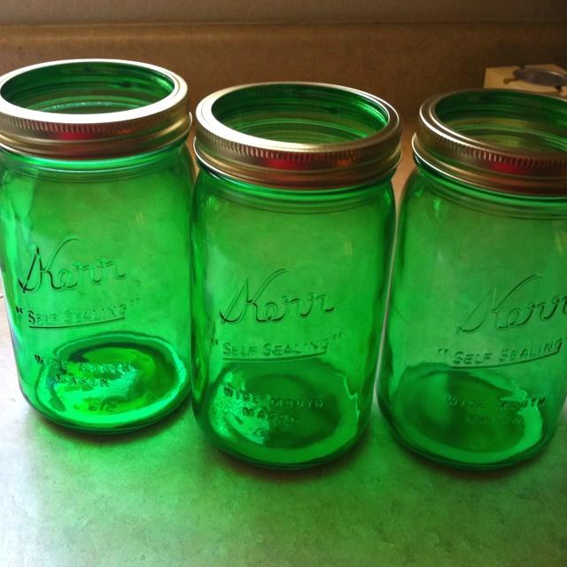 DIY green mason jars