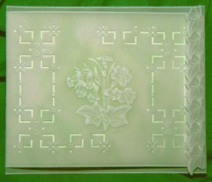A pale green sympathy card of embossed flowers and ivy, with a folding line of ivy leaves on the right hand side that holds the card closed.