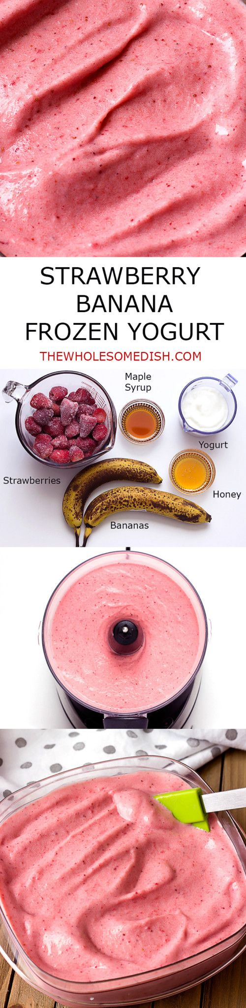Strawberry Banana Frozen Yogurt - homemade with simple ingredients:  strawberries, bananas, yogurt, maple syrup, and honey. via @afinks