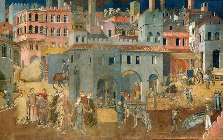ME 100729 Ambrogio Lorenzetti, Effetti del Buon Governo in città, 1337-40, Palazzo Pubblico, Siena