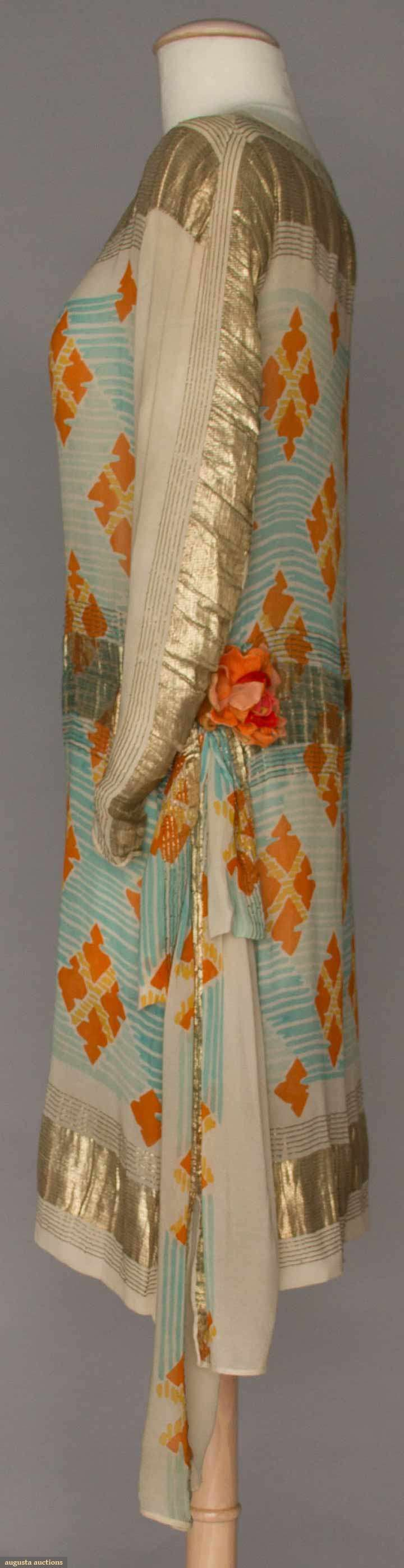 Dinner Dress (image 2) | 1920s | printed silk, lame | Augusta Auctions | April 20, 2016/Lot 258