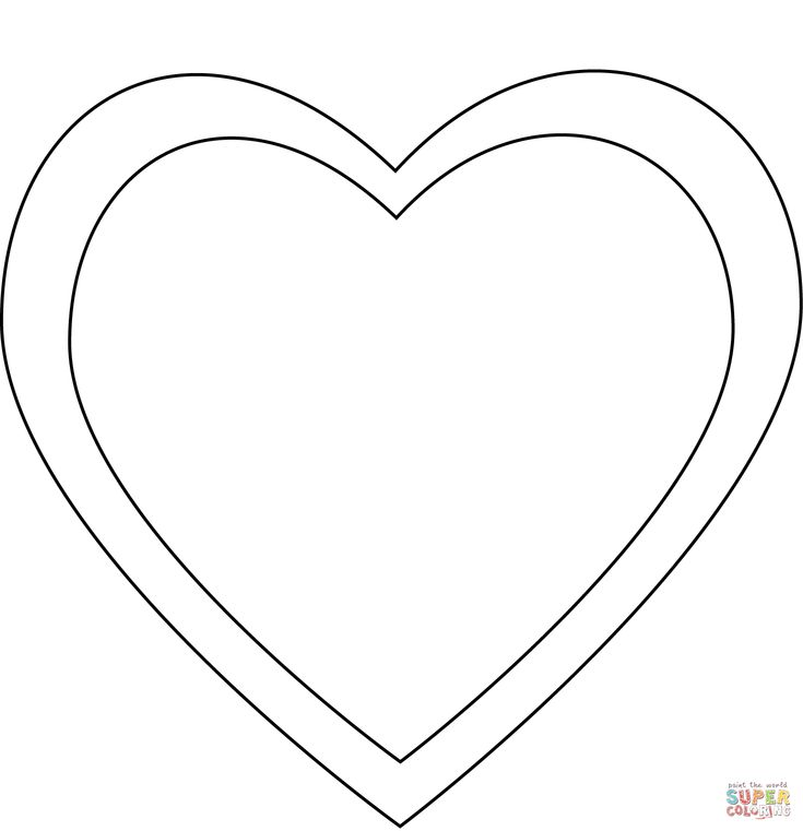 Simple Heart | Super Coloring in 2020 | Heart coloring ...