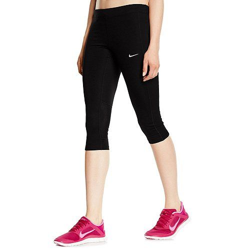 Nike Womens Essential Running Capri Black/Black/Black/Reflective Silver Pants:   The color-blocked design of Nike Essential Capris bring you just enough coverage with a tight, supportive fit. The sweat-wicking Dri-FIT fabric, mesh ventilation and adjustable waistband keep you comfortable while you challenge your pace. Dri-FIT fabric helps keep you dry and comfortable. Waistband and back panel mesh enhance ventilation. Elastic waistband with drawcord personalizes your fit. Flatlock seam...