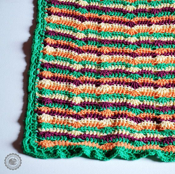 Crochet blanket colorful striped for sofa or baby bed in merino wool ...