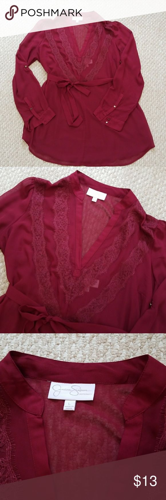 Jessica Simpson Maternity Blouse Jessica Simpson Maternity Blouse, great used condition, camisole has snap attach option at the shoulder, smoke free pet free home. Jessica Simpson Tops Blouses