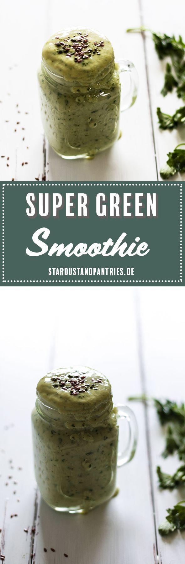 Super grüner Smoothie - vegan, lactosefrei und super gesund. Grüner Smoothie als gesundes Frühstück oder gesunder Snack